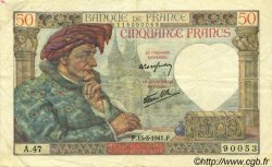 50 Francs JACQUES CŒUR FRANCE  1941 F.19.07 TTB