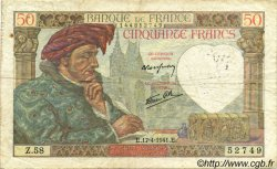 50 Francs JACQUES CŒUR FRANCE  1941 F.19.08 pr.TB