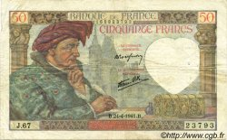 50 Francs JACQUES CŒUR FRANCE  1941 F.19.09 TTB