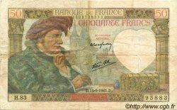 50 Francs JACQUES CŒUR FRANCE  1941 F.19.11 TTB