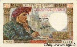 50 Francs JACQUES CŒUR FRANCE  1941 F.19.12 SUP