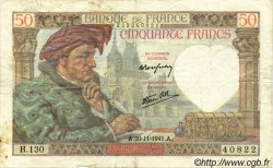 50 Francs JACQUES CŒUR FRANCE  1941 F.19.16 pr.TTB
