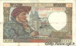 50 Francs JACQUES CŒUR FRANCE  1941 F.19.16 TTB