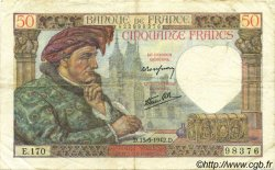 50 Francs JACQUES CŒUR FRANCE  1942 F.19.20 TTB