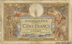 100 Francs LUC OLIVIER MERSON grands cartouches FRANCE  1923 F.24 B à TB