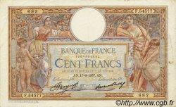 100 Francs LUC OLIVIER MERSON grands cartouches FRANCE  1937 F.24.16 pr.TTB
