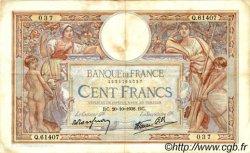 100 Francs LUC OLIVIER MERSON type modifié FRANCE  1938 F.25.32 TTB
