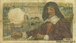 100 Francs DESCARTES FRANCE  1942 F.27.01 B+