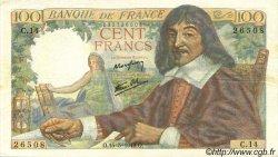 100 Francs DESCARTES FRANCE  1942 F.27.01 TTB