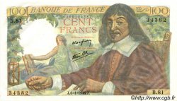 100 Francs DESCARTES FRANCE  1944 F.27.04