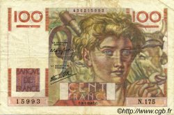 100 Francs JEUNE PAYSAN FRANCE  1947 F.28.13 TB+