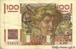 100 Francs JEUNE PAYSAN FRANCE  1952 F.28.33 TTB