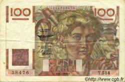 100 Francs JEUNE PAYSAN FRANCE  1953 F.28.35 TTB+