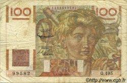 100 Francs JEUNE PAYSAN filigrane inversé FRANCE  1952 F.28bis.01 pr.TB