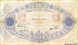 500 Francs BLEU ET ROSE modifié FRANCE  1938 F.31.08 pr.TB