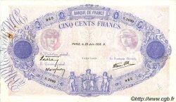 500 Francs BLEU ET ROSE modifié FRANCE  1938 F.31.16 TTB