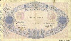 500 Francs BLEU ET ROSE modifié FRANCE  1938 F.31.19 B+