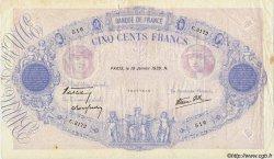 500 Francs BLEU ET ROSE modifié FRANCE  1939 F.31.23 TTB