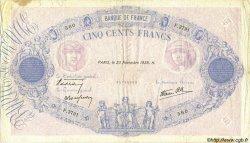 500 Francs BLEU ET ROSE modifié FRANCE  1939 F.31.49 TB+