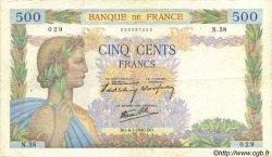 500 Francs LA PAIX FRANCE  1940 F.32.01 TB+