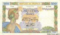 500 Francs LA PAIX FRANCE  1940 F.32.10 TB+