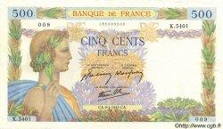 500 Francs LA PAIX FRANCE  1942 F.32.34 SUP