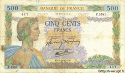 500 Francs LA PAIX FRANCE  1942 F.32.34 B+