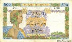 500 Francs LA PAIX FRANCE  1942 F.32.36 TTB