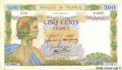500 Francs LA PAIX FRANCE  1942 F.32.38 TTB+