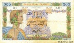 500 Francs LA PAIX FRANCE  1942 F.32.39 TTB