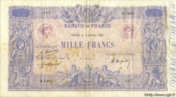 1000 Francs BLEU ET ROSE FRANCE  1921 F.36.37 TB