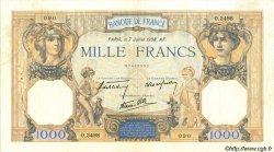 1000 Francs CÉRÈS ET MERCURE type modifié FRANCE  1938 F.38.22 TTB+