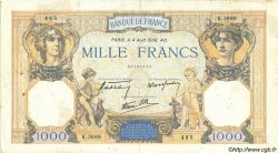 1000 Francs CÉRÈS ET MERCURE type modifié FRANCE  1938 F.38.26 TB