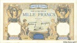 1000 Francs CÉRÈS ET MERCURE type modifié FRANCE  1938 F.38.26 TB+