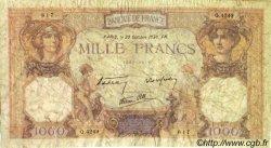 1000 Francs CÉRÈS ET MERCURE type modifié FRANCE  1938 F.38.30 B
