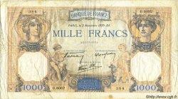 1000 Francs CÉRÈS ET MERCURE type modifié FRANCE  1939 F.38.38 B+