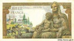 1000 Francs DÉESSE DÉMÉTER FRANCE  1943 F.40.20 TTB+