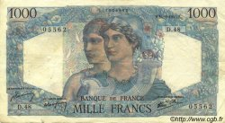 1000 Francs MINERVE ET HERCULE FRANCE  1945 F.41.04 TTB