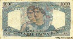 1000 Francs MINERVE ET HERCULE FRANCE  1945 F.41.04 TB+
