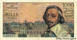1000 Francs RICHELIEU FRANCE  1954 F.42.07 TTB
