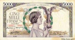 5000 Francs VICTOIRE Impression à plat FRANCE  1938 F.46.01 TTB