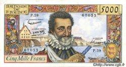 5000 Francs HENRI IV FRANCE  1958 F.49.07 pr.SUP