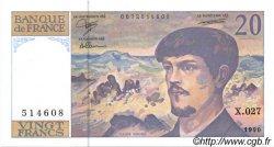 20 Francs DEBUSSY à fil de sécurité FRANCE  1990 F.66bis.01 SPL+