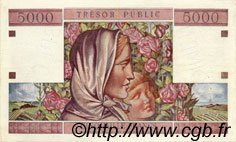 5000 Francs TRÉSOR PUBLIC FRANCE  1955 VF.36.02 SUP+