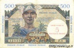 5 NF sur 500 Francs TRÉSOR PUBLIC FRANCE  1960 VF.37.01 TTB