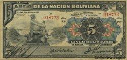 5 Bolivianos BOLIVIE  1911 P.105a TB+