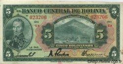5 Bolivianos BOLIVIE  1928 P.120a TTB+