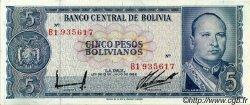 5 Pesos Bolivianos BOLIVIE  1962 P.153a SPL