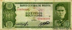 10 Pesos Bolivianos BOLIVIE  1962 P.154a TB