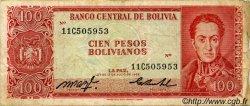 100 Pesos Bolivianos BOLIVIE  1962 P.164a TB